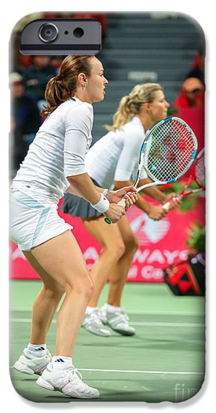 Maria Kirilenko iPhone Cases - Hingis and Kirilenko in Doha iPhone Case by Paul Cowan