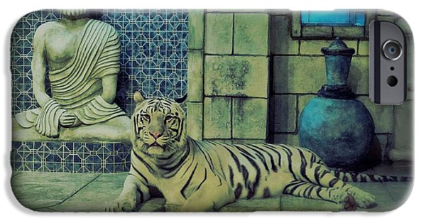 The Tiger iPhone Cases - Hint of Blue iPhone Case by Dan Sproul