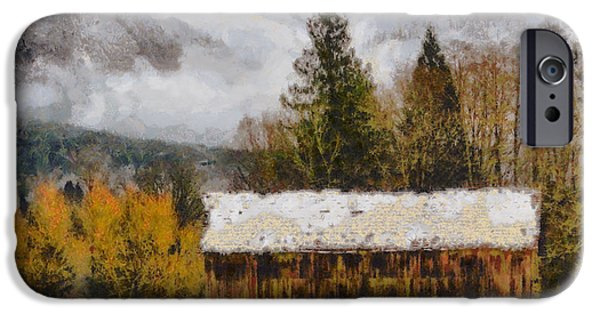 Buildings Mixed Media iPhone Cases - Hint of Winter iPhone Case by Mark Kiver