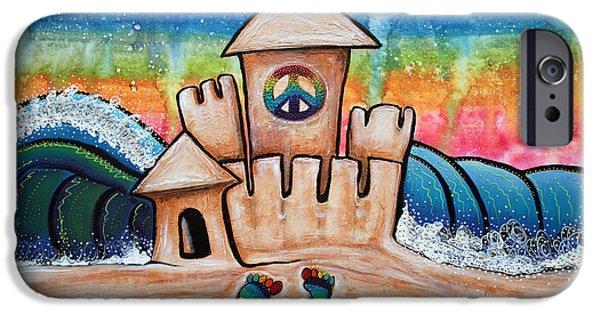 Sand Castles iPhone Cases - Hippie Sand Castle iPhone Case by Laura Barbosa
