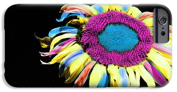 Close Up Floral Mixed Media iPhone Cases - Hippie Sunflower Rainbow Painterly iPhone Case by Andee Design