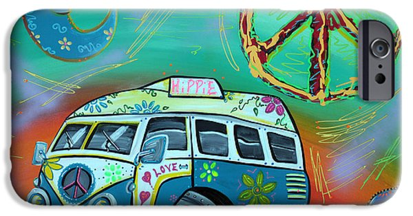 Caricature Mixed Media iPhone Cases - Hippie Trip iPhone Case by Laura Barbosa