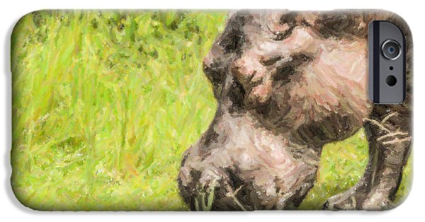 Hippopotamus Digital Art iPhone Cases - Hippo Hippopotamus amphibius grazing iPhone Case by Liz Leyden