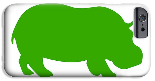 Hippopotamus Digital Art iPhone Cases - Hippo in Green and White iPhone Case by Jackie Farnsworth