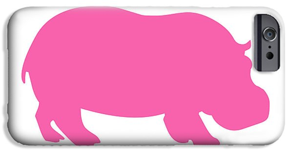 Hippopotamus Digital Art iPhone Cases - Hippo in Pink and White iPhone Case by Jackie Farnsworth