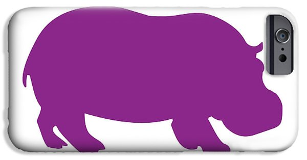Hippopotamus Digital Art iPhone Cases - Hippo in Purple and White iPhone Case by Jackie Farnsworth