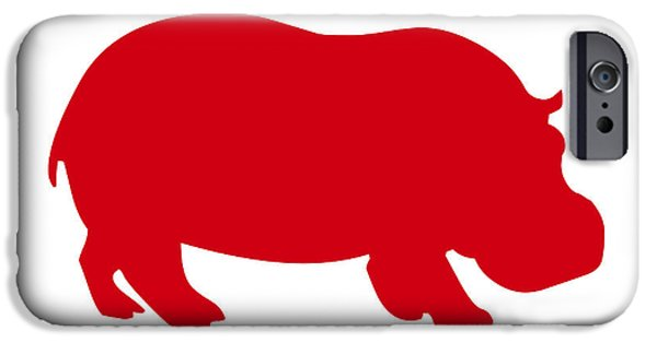 Hippopotamus Digital Art iPhone Cases - Hippo in Red and White iPhone Case by Jackie Farnsworth