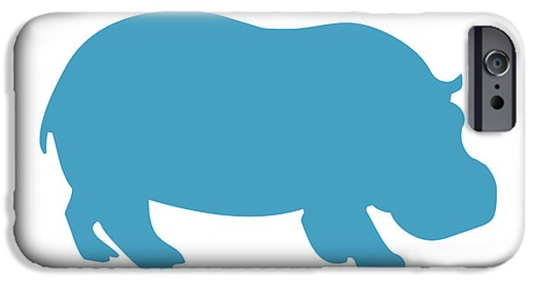 Hippopotamus Digital Art iPhone Cases - Hippo in White and Turquoise iPhone Case by Jackie Farnsworth