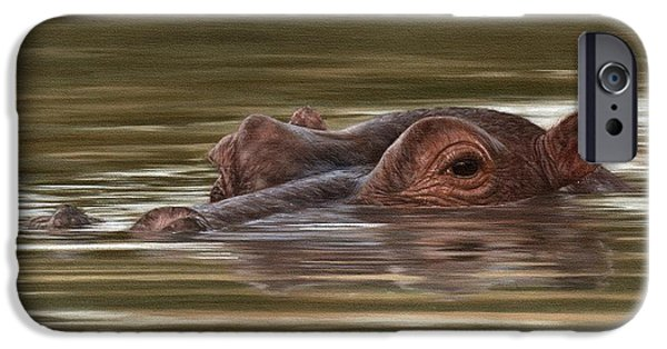 Hippopotamus iPhone Cases - Hippo Painting iPhone Case by Rachel Stribbling