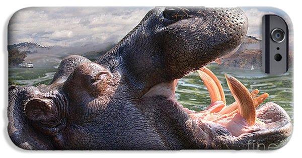 Hippopotamus Digital Art iPhone Cases - Hippo the Hippopotamus Opening His Mouth iPhone Case by Jim Fitzpatrick