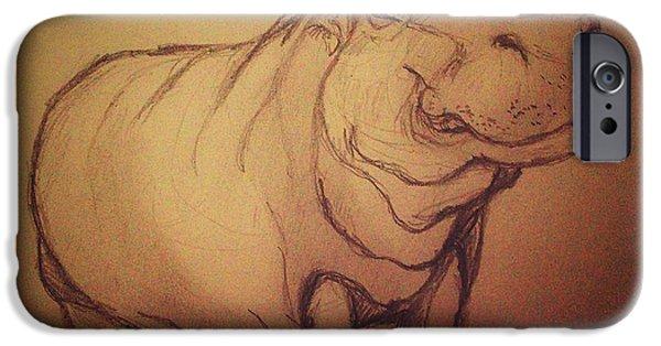 Hippopotamus Digital Art iPhone Cases - Hippo iPhone Case by Vineeth Menon