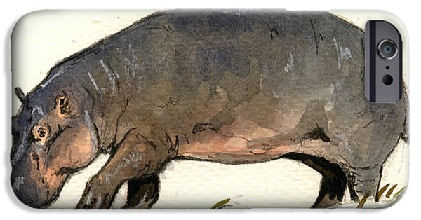 Hippopotamus iPhone Cases - Hippo walk iPhone Case by Juan  Bosco