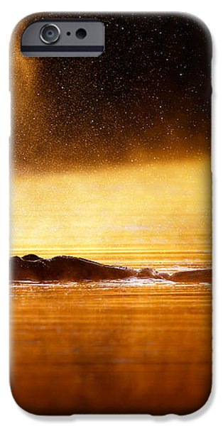 Hippopotamus blowing air at sunrise over misty river iPhone Case by Johan Swanepoel