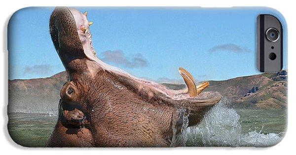 Hippopotamus Digital Art iPhone Cases - Hippopotamus Bursting out of the Water iPhone Case by Jim Fitzpatrick