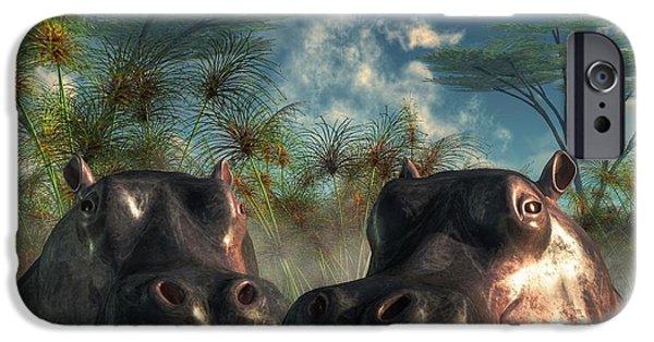 Hippopotamus Digital Art iPhone Cases - Hippos Are Coming To Get You iPhone Case by Daniel Eskridge