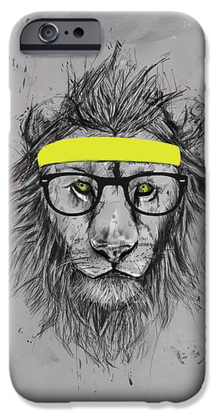 Lion Digital Art iPhone Cases - Hipster lion iPhone Case by Balazs Solti