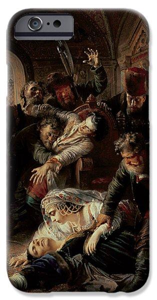 Assassinated iPhone Cases - Hired Assassins Killing Tzar Boris Fyodorevich Godunovs Son iPhone Case by Konstantin Egorovich Makovsky