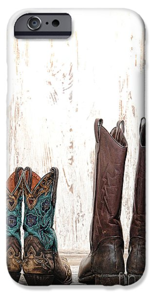 Worn Leather iPhone Cases - His and Hers iPhone Case by Olivier Le Queinec