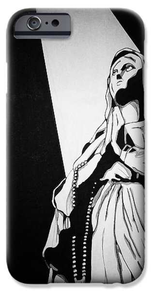 Statue Portrait Drawings iPhone Cases - His Light iPhone Case by Jerrett Dornbusch