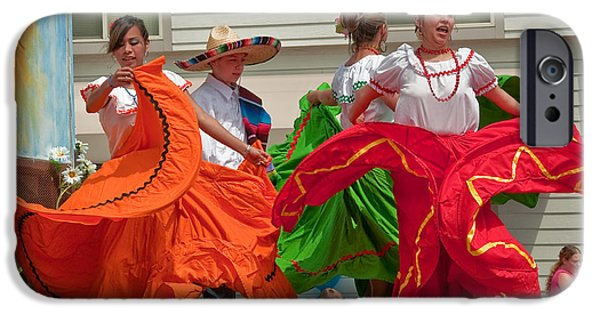 Berry iPhone Cases - Hispanic Women Dancing in Colorful Skirts iPhone Case by Valerie Garner