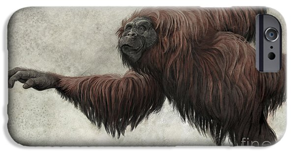 Orangutan Digital Art iPhone Cases - Hispanopithecus Laietanus iPhone Case by Roman Garcia Mora