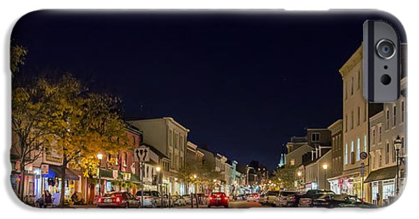 Night Lamp iPhone Cases - Historic Annapolis - Pano iPhone Case by Brian Wallace