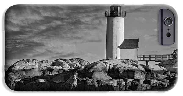 U.s. iPhone Cases - Historic Annisquam Harbor Lighthouse BW iPhone Case by Susan Candelario
