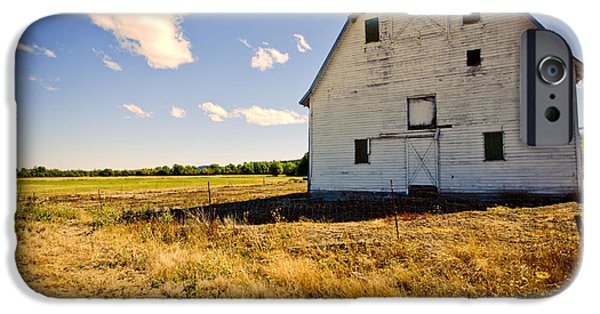 Old Barn iPhone Cases - Historic Barn in Kings Valley iPhone Case by Bonnie Bruno