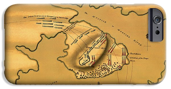 City. Boston Drawings iPhone Cases - Historic Bunker Hill Battleground Map 1775 iPhone Case by Mountain Dreams