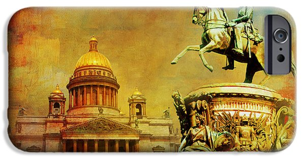 Spit iPhone Cases - Historic Center of Saint Petersburg iPhone Case by Catf