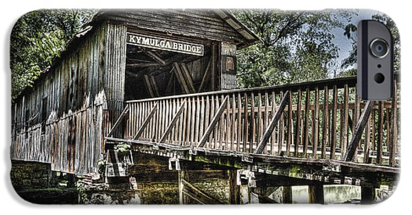 Grist Mill iPhone Cases - Historic Kymulga Covered Bridge iPhone Case by Ken Johnson
