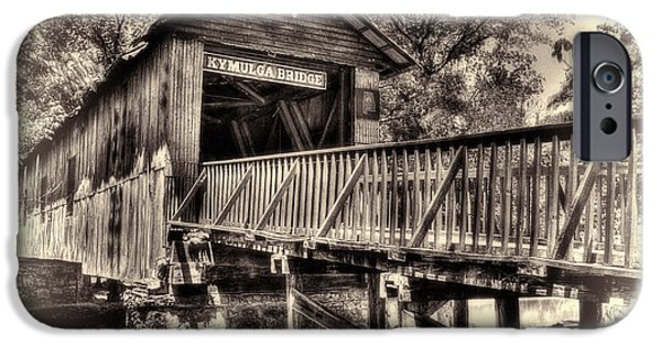 Grist Mill iPhone Cases - Historic Kymulga Covered Bridge Toned iPhone Case by Ken Johnson