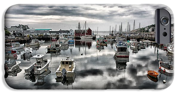Red Rock iPhone Cases - Historic Rockport Harbor iPhone Case by Stephen Stookey