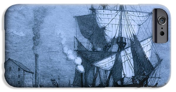 Pirate Ships iPhone Cases - Historic Seaport Blue Schooner iPhone Case by John Stephens