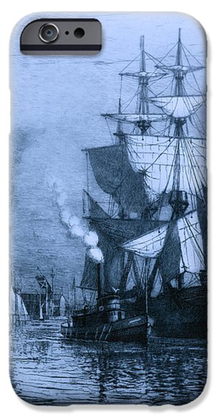 Historic Seaport Blue Schooner iPhone Case by John Stephens