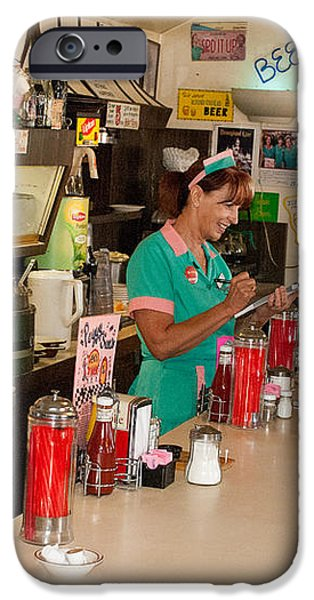 Historic Soda Fountain Peggy Sues Diner Yermo California iPhone Case by Robert Ford