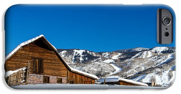 Snow Scene iPhone Cases - Historic Steamboat Spring Barn iPhone Case by Teri Virbickis
