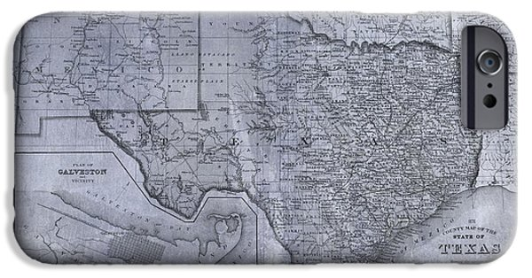 Arkansas iPhone Cases - Historic Texas Map iPhone Case by Dan Sproul