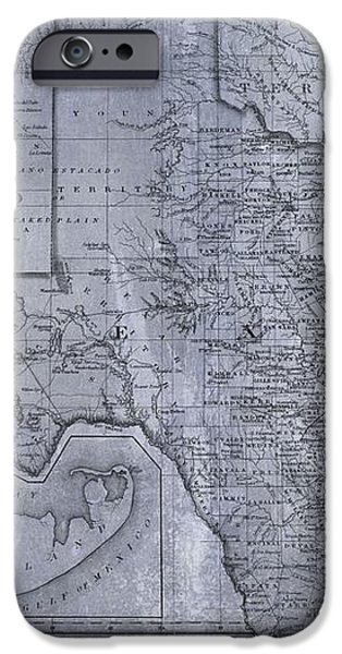 Historic Texas Map iPhone Case by Dan Sproul