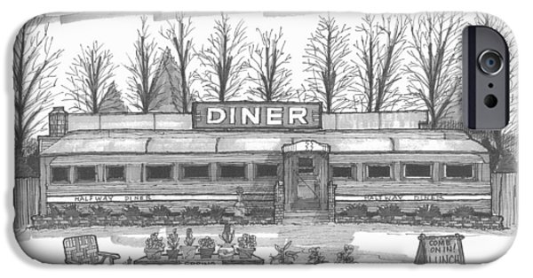 Location Drawings iPhone Cases - Historic Village Diner iPhone Case by Richard Wambach