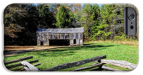 Smokey Mountain Drive iPhone Cases - Historical Cantilever Barn at Cades Cove Tennessee iPhone Case by Kathy Clark