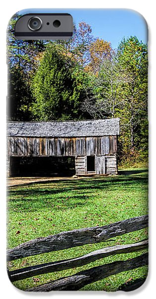 Historical Cantilever Barn at Cades Cove Tennessee iPhone Case by Kathy Clark