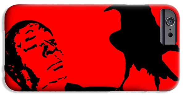 Pop Culture iPhone Cases - Hitchcock in Red iPhone Case by Jera Sky