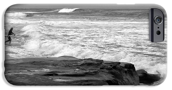 La Jolla Surfers iPhone Cases - Hittin the Breakers Black and White iPhone Case by Peter Tellone
