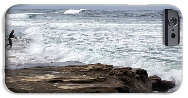 La Jolla Surfers iPhone Cases - Hittin the Breakers iPhone Case by Peter Tellone