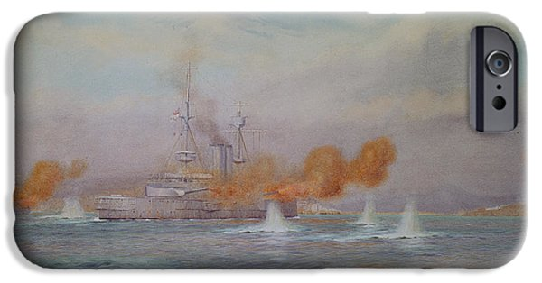 Wwi iPhone Cases - H.m.s. Albion Commanded By Capt. A. Walker-heneage Completing The Destruction Of The Outer Forts iPhone Case by Alma Claude Burlton Cull