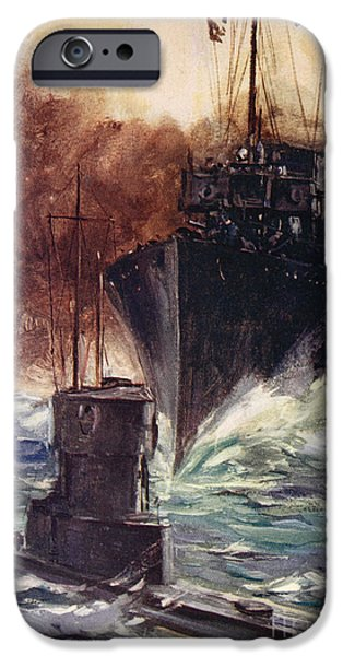 World War One Paintings iPhone Cases - HMS Badger ramming a German submarine iPhone Case by Cyrus Cuneo