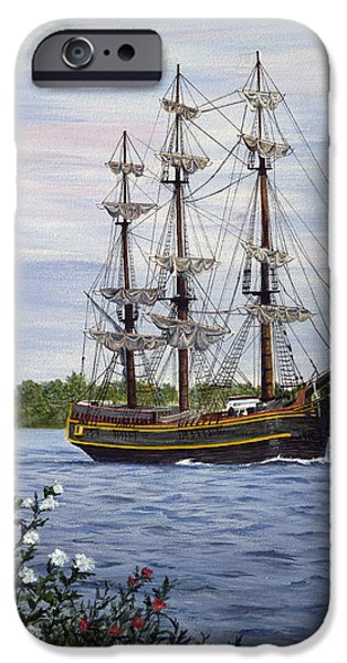 Pirate Ships Paintings iPhone Cases - HMS Bounty iPhone Case by Vicky Path