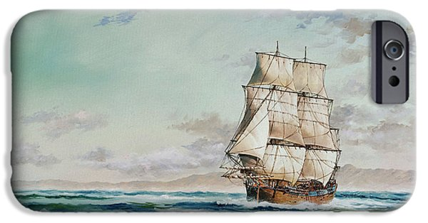Sailing Ship Framed Prints iPhone Cases - HMS Endeavour iPhone Case by James Williamson