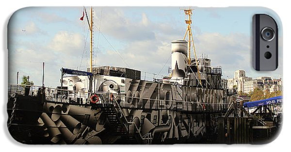World War One iPhone Cases - HMS President In Dazzle Camouflage iPhone Case by Peter Hunt